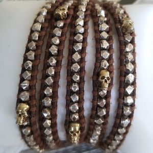 Chan Luu Skull   Nugget leather bracelet. 15cfd0dab